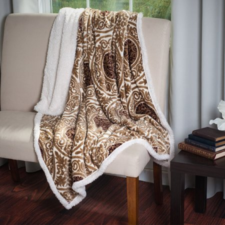 (Somerset Home Printed Coral Soft Fleece Sherpa Throw Blanket)