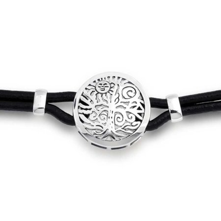 Round Medallion Black Leather Celtic Sun Rising And Tree Of Life Collar Choker Necklace For Women 925 Sterling Silver - image 4 of 5
