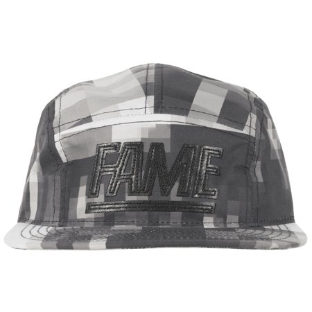 Hall of Fame Block 5 Panel Strapback Hat Headwear Mens Black
