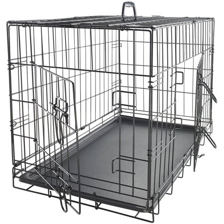 Oxgord 42   Heavy Duty Foldable Double Door Dog Crate With Divider And Removable Abs Plastic Tray  42   X 27   X 30