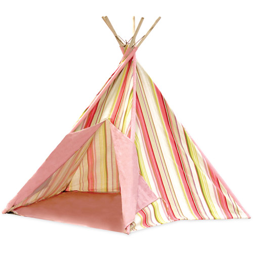 Pink Stripe Cotton Canvas Teepee Playhouse