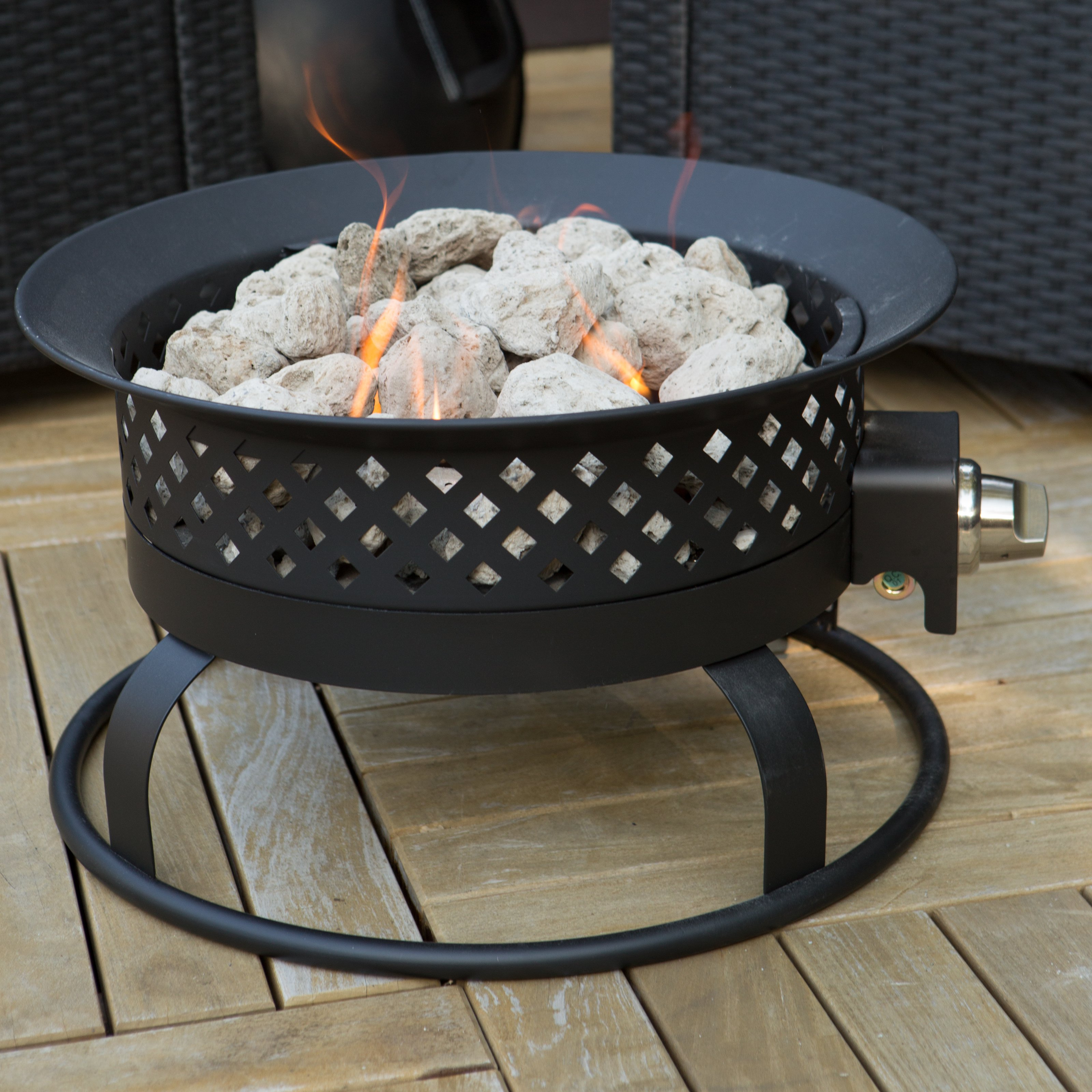 Superb Portable Propane Campfire Fire Pit   Dark Bronze
