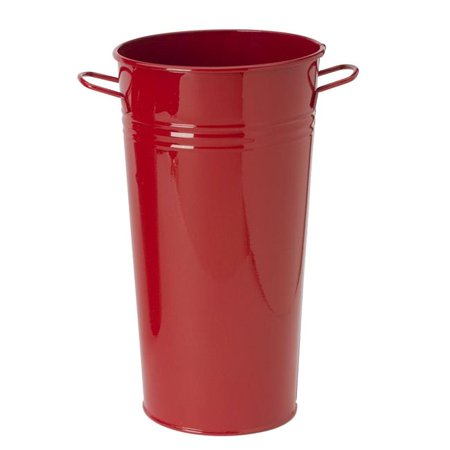 Enameled Galvanized Vase, Red