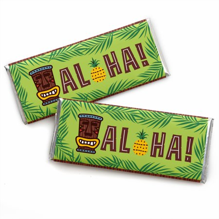Tiki Luau - Candy Bar Wrapper Tropical Hawaiian Summer Party Favors - Set of 24 - Tiki Party Ideas