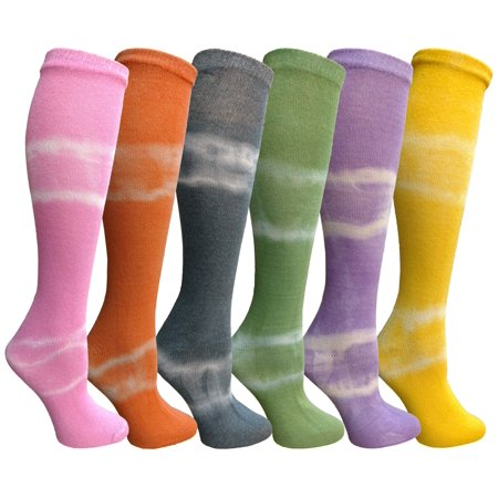 Yacht&Smith 6 Pairs Girls Tie Dye Knee High Socks, Anti Microbial, Premium Soft Touch, Kids