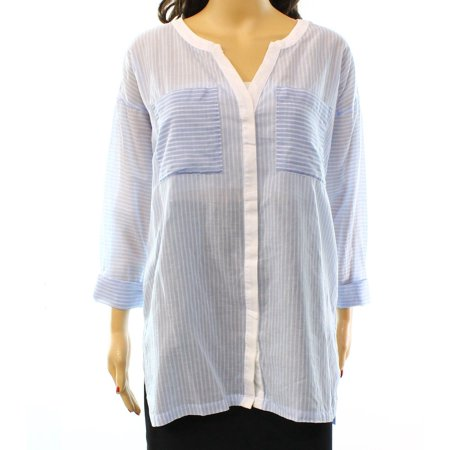 Old Navy New Blue Womens Size Xs Striped Button Down 2 Pocket Blouse