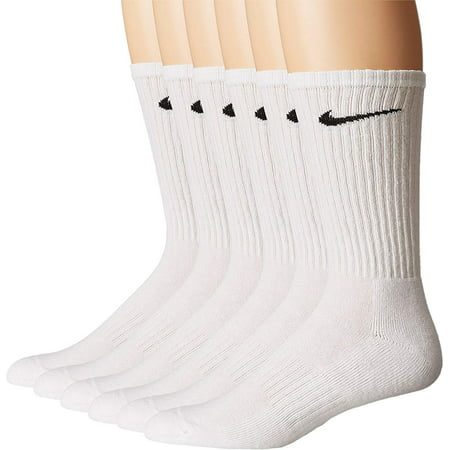 Nike Performance Cotton Cushioned Crew Socks 6 Pairs, White / Large