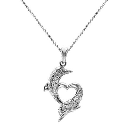 Sterling Silver Dolphin Open Heart Pendant Necklace, 18 Inches