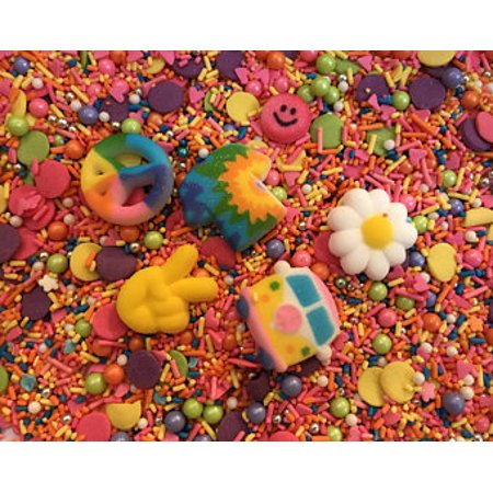 Hippie Groovy 60s Peace Sprinkle Me Pretty 8 Oz. Decorettes Confetti Sequins Birthday Party Favors Sugar Decorations Cupcake