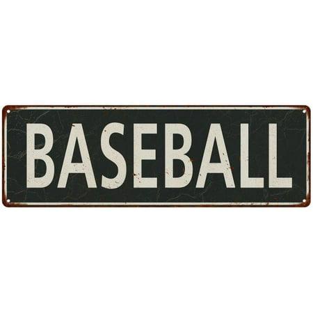 Baseball White on Black Vintage Look Metal Sign 6x18 Old Advertising Man Cave Game Room M6180666