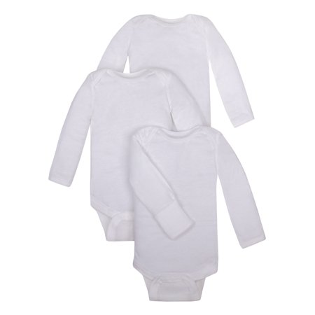 White Long Sleeve Bodysuits with Mitt Cuff, 3pk (Baby Boys or Baby Girls Unisex)