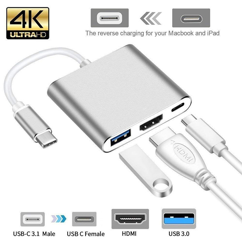 USB 3.1 Type C USB-C to VGA Converter Adapter Reversible 12 inch Silver Male to Female Conneting Cable for MacBook