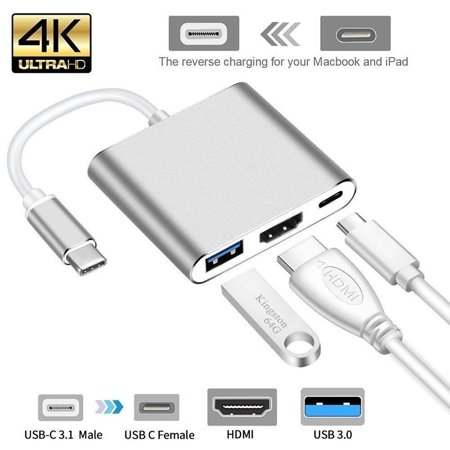 USB Type C Hub HDMI 4K Adapter USB-C to Converter with 3.0 USB and 3.1 Charging Port for Retina MacBook,Sliver