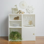 """iCube 28"""" 4-Cube Organizer with Door and Shelf White"""