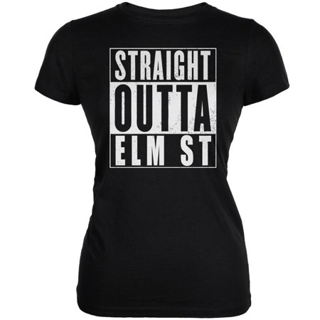 Halloween Straight Outta Elm Street Black Juniors Soft T-Shirt