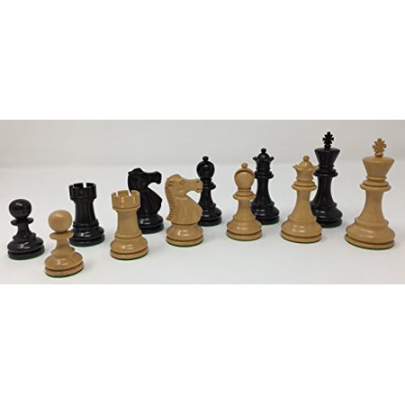 Chess Pieces: The Monarch in Black and Natural Boxwood with 3.75