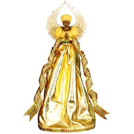 SERENITY in GOLD African American Angel Christmas Tree Topper, United Treasures ()