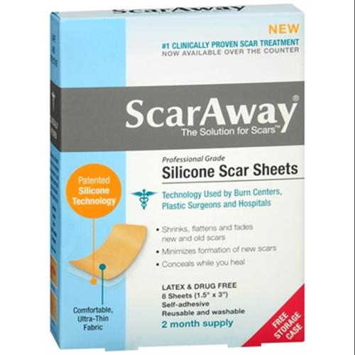 "ScarAway Silicone Scar Sheets 8 Count (1.5"" x 3"") 8 Each (Pack of 3)"