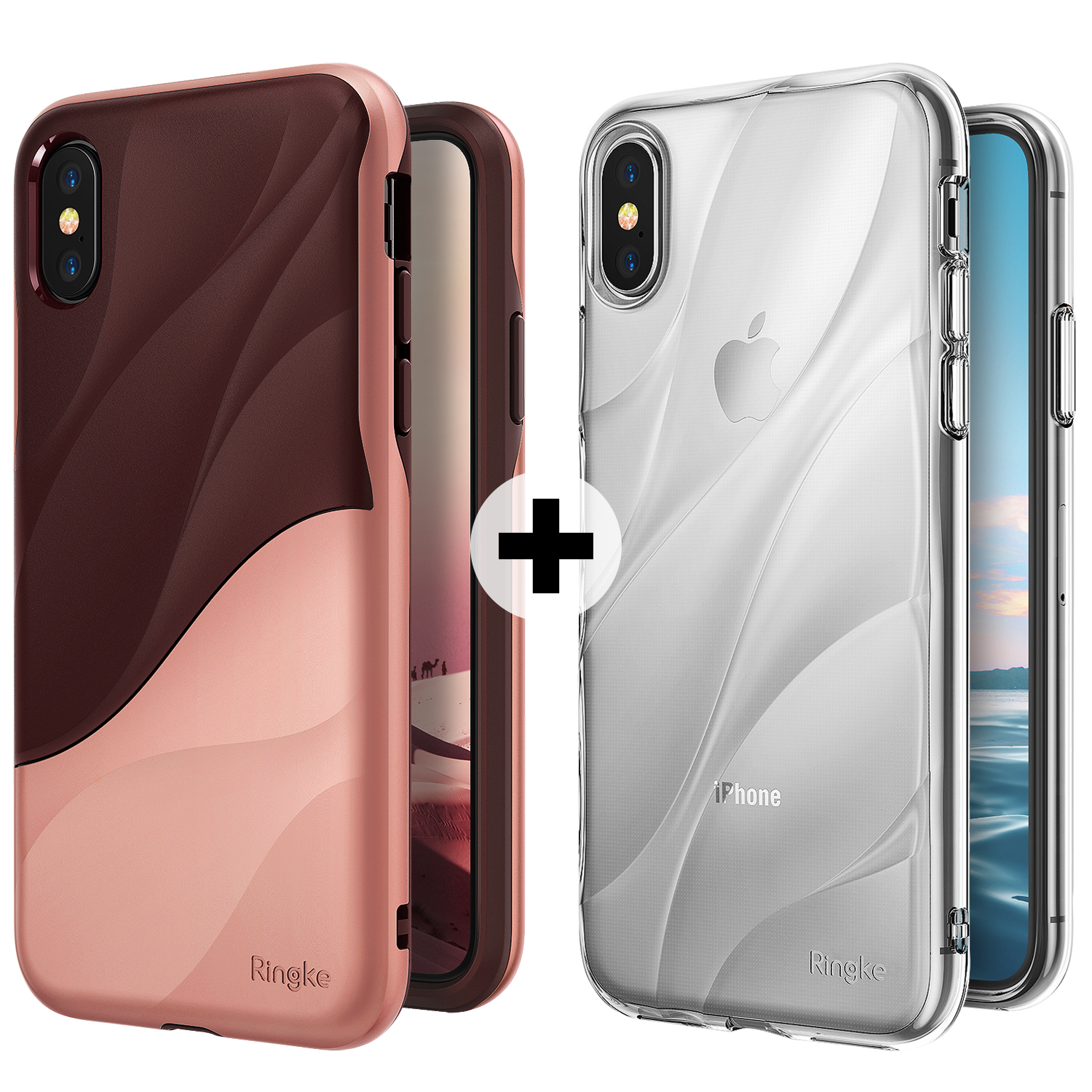 Apple iPhone X Phone Case, iPhone 10 Case, Ringke [WAVE] Dual Layer Heavy Duty PC TPU Drop Resistant Protection Cover + [Flow] Minimalist Wavy Textured Shock Absorption TPU Lightweight
