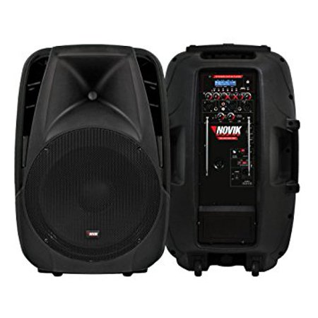 NOVIK NEO ROLLING SOUND 15BT 15 Inch 1600 Watt 2 Way Battery Powered Bluetooth Speaker PA System with USB/SD Readers, Remote Control and VHF Microphone