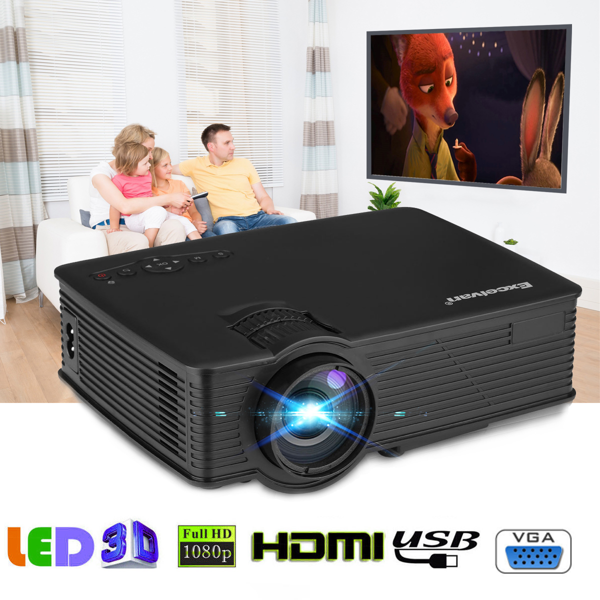 Excelvan Mini LED Projector, 800x480 Pixels 1200 Lumens Home Cinema Theater HDMI/USB/USB(5V)/SD/AV/VGA/3.5mm