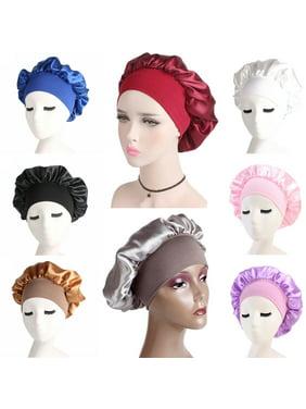 SUNSIOM Women Satin Bonnet Cap Night Sleep Hair Protect Head Cover Wide Band Adjust Hats