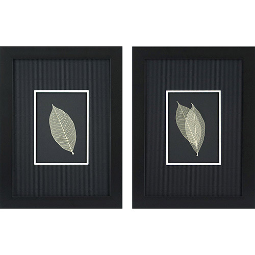 Skeleton Leaves on Black Framed Artwork, Set of 2 by Pro Tour Memorabilia