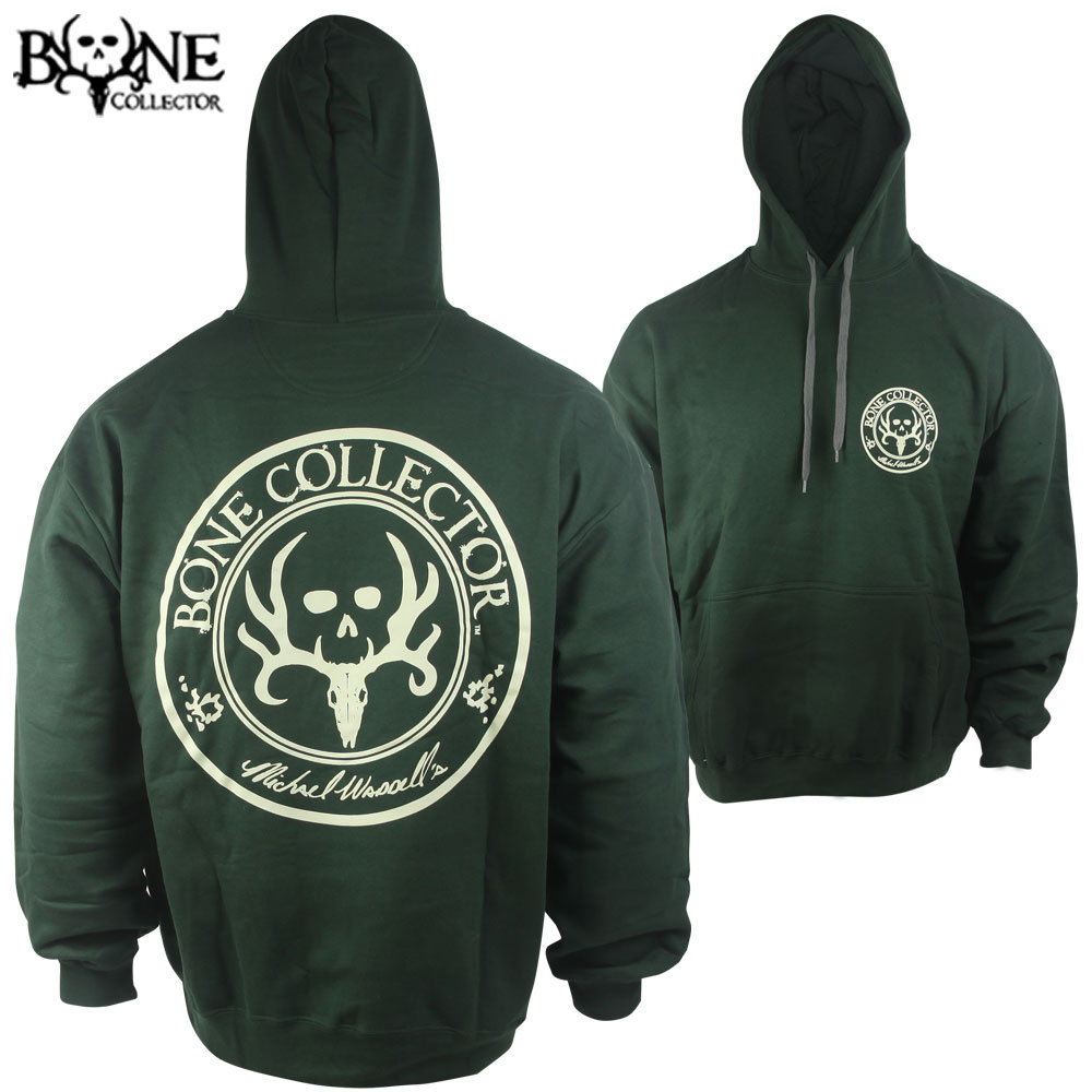 Bone Collector Cream Logo Circle Hoodie (L)- Forest