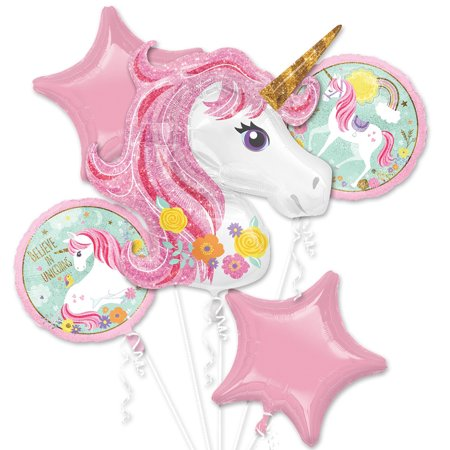 Smiley Face Foil Balloon - Magical Unicorn Foil Balloon Bouquet