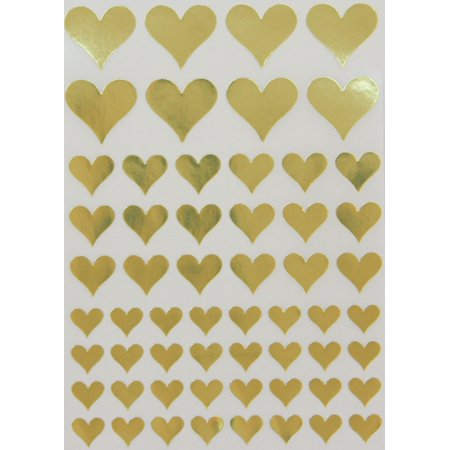 Gold Heart Stickers for arts and crafts, Envelope Seals Foil Hearts, 3 sizes - 290 pack
