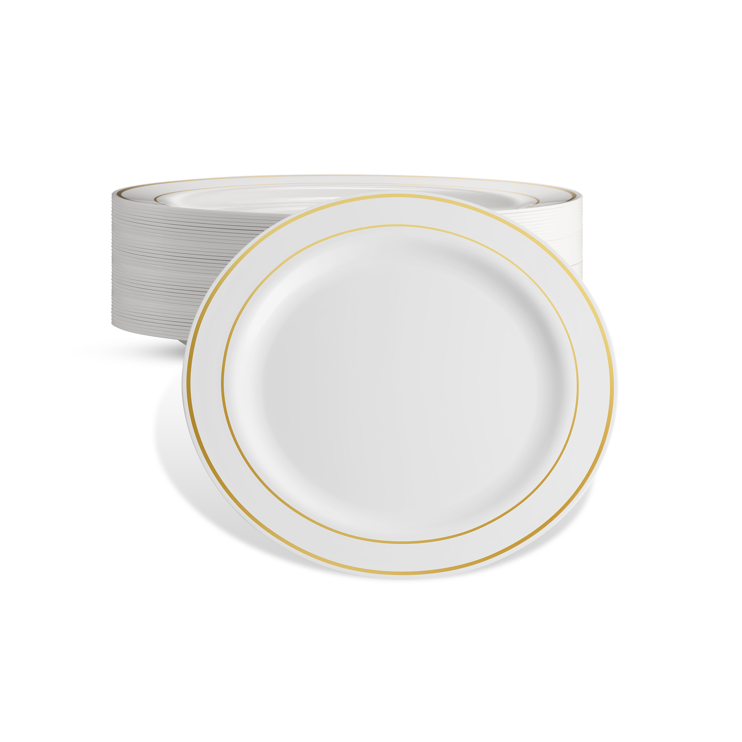 DELUXE PLASTIC PARTY DISPOSABLE PLATES   6 Inch Hard Wedding Dessert Plates   White with Gold  sc 1 st  Walmart.com & DELUXE PLASTIC PARTY DISPOSABLE PLATES   6 Inch Hard Wedding ...