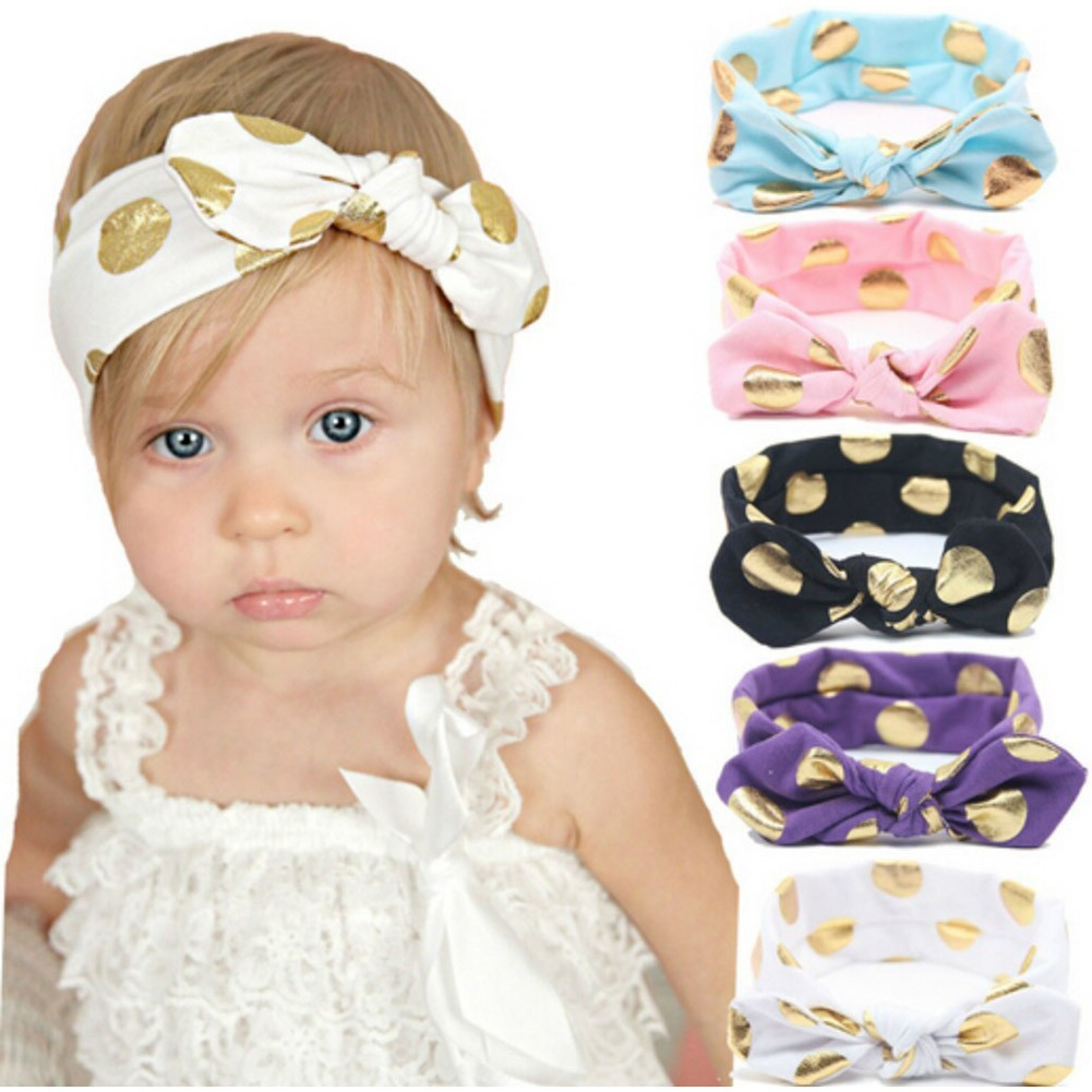 Baby Girls Multi Color Gold Polka Dotted Knotted Bow 5 Pc Headband Set