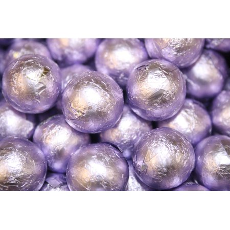 BAYSIDE CANDY MILK CHOCOLATE BALLS LAVENDER FOILED, 1LB - Chocolate Sports Balls