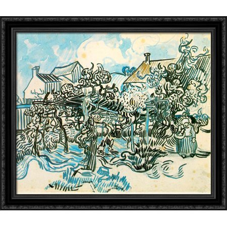 Old Vineyard with Peasant Woman 32x28 Large Black Ornate Wood Framed Canvas Art by Vincent van Gogh