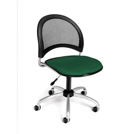 - Ofminc Office Furniture Starmoon Series Triple-Curve & Extra Thick Design Armless Fabric Forest Green Swivel Chair