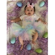 ZIYIXIN My First Easter Baby Girl Clothes Letter Romper Tulle Skirt 3pcs Outfit