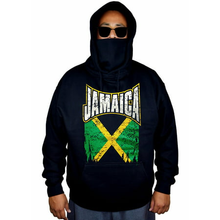 Jamaica Mens Hoodie (Men's Jamaica Flag Black Mask Hoodie Sweater 2X-Large)