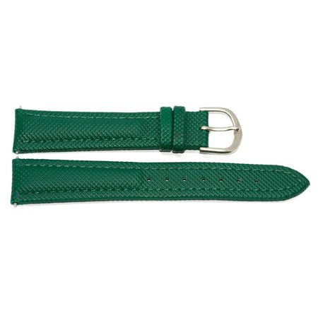 18MM GREEN PADDED WATERPROOF LEATHER WATCH BAND STRAP FITS FOSSIL (Fossil Leather Strap)