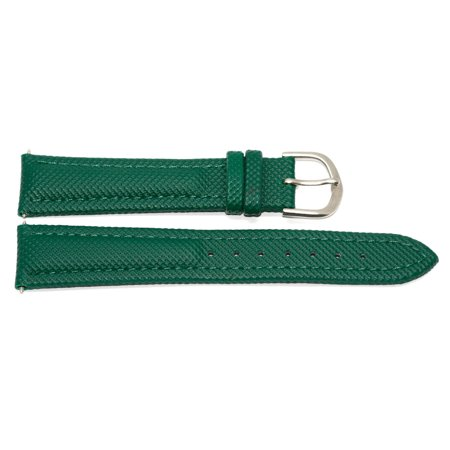 18MM GREEN PADDED WATERPROOF LEATHER WATCH BAND STRAP FITS FOSSIL ()