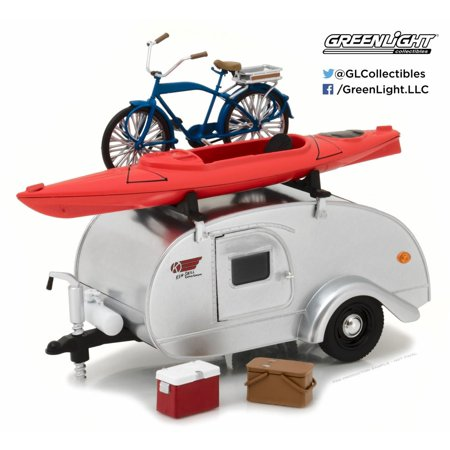 1947 Ken Skill Tear Drop Trailer with Accessories, Silver - Greenlight 18420A/12 - 1/24 Scale Diecast Model Toy