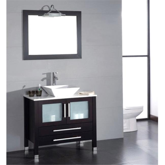 Cambridge Plumbing 8111 36 In. Solid Wood & Porcelain Single Vessel Sink Vanity Set
