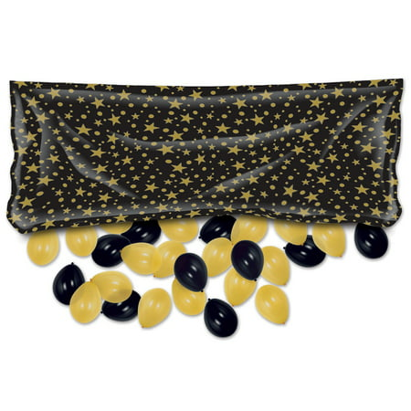 Club Pack of 12 Pre-Packaged Black and Gold Party Balloon Bags 80