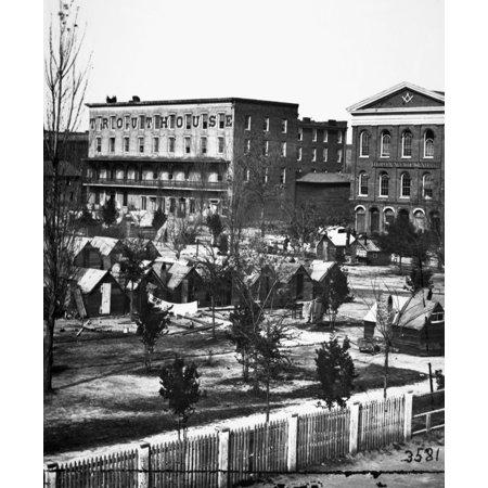 Civil War Atlanta 1864 Ntrout House Masonic Hall And Federal Encampment On Decatur Street Atlanta Georgia 1864 Photograph By George N Barnard Rolled Canvas Art     24 X 36