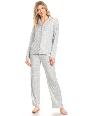 JVOP Womens Sleepwear Pajamas Woman Long Sleeve Button Down set