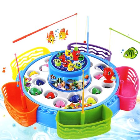 Children's Kids Fishing Board Toy Game Fish Electric Magnetic Educational Rotating New (Fishing Toys)