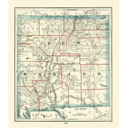Old State Map New Mexico Rathbun 1893 23 X 26 44 Walmart Com