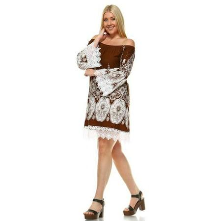 8bd4068c22b0 wm - white mark ps803-43-3xl womens plus size off-shoulder mya dress  44   brown   white - 3xl - Walmart.com