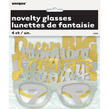 Unique Grad Party Ideas (Foil Graduation Party Glasses, Silver & Gold,)