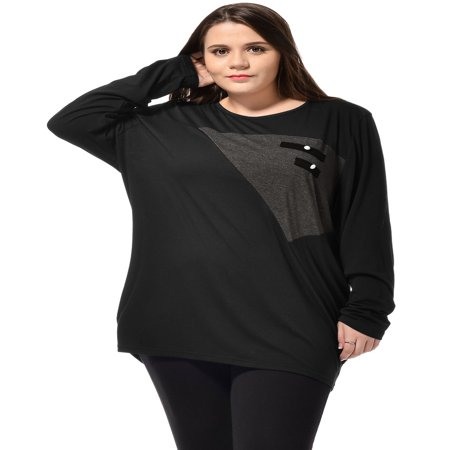 Allegra K Women's Plus Size Scoop Neck Contrast Color Casual Tunic Shirt Black