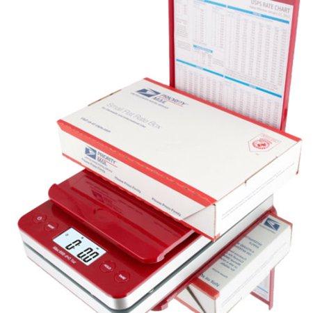 SAGA 66 lb. DIGITAL POSTAL SHIPPING SCALE by SAGA X 0.1 OZ WEIGHT USPS POSTAGE W/AC USB Charger , Pro Model, Red